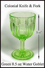 Hocking Colonial Knife & Fork Green 9 oz Water Goblet