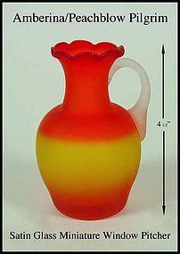 Amberina Peach Blow Pilgrim Satin Glass Mini Window Jug