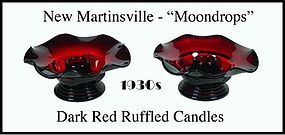 New Martinsville Moondrops Pair Red Ruffled Low Candles