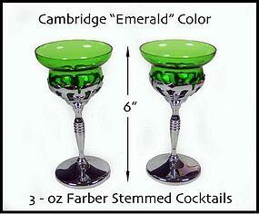 Cambridge Farber Tall 3oz Emerald Green Goblets-Nice!