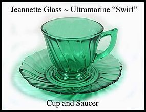 Jeannette ~ Ultramarine Swirl Cup and Saucer l~ 1930