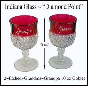 Indiana ~ Diamond Point 2-10 oz Ruby Flashed Etched