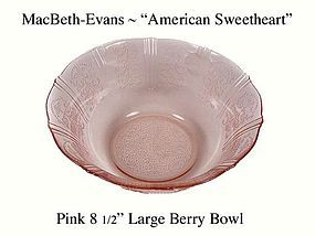 "MacBeth-Evans American Sweetheart Pink Lg 9"" Berry Bowl"