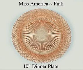 "Hocking Miss Amerca Pink 10"" Dinner Plate 1930"