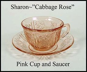 Federal Glass Pink Sharon Cabbage Rose Cup & Saucer