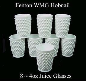 Fenton White Milk Glass Hobnail 8-4 ounce Juice Glasses