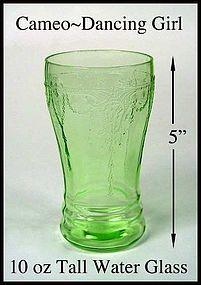Hocking ~ Cameo Dancing Girl Green 10 oz Tall Water Tum