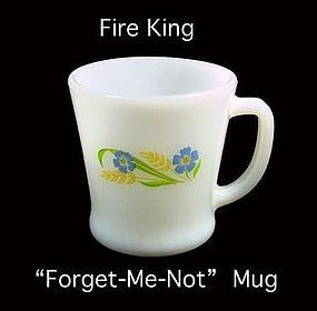 """Fire King ~ """"Forget Me Not"""" Pattern ~ Coffee Mug"""