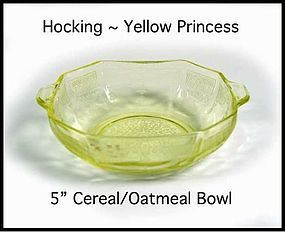 Hocking Princess Yellow 5 Inch Cereal/Oatmeal Bowl