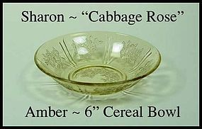 "Federal Glass Sharon Cabbage Rose Amber 6"" Cereal Bowl"