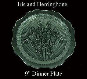 Jeannette ~ Iris and Herringbone 9 inch Dinner Plate