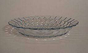 Fire King Blue Bubble Large Flat Soup Plate Bowl