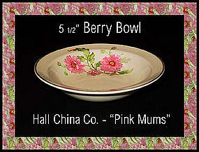 Hall China Pink Mums Small Berry Bowl 1950
