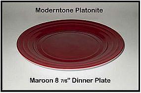 Moderntone Platonite Burgandy or Maroon Dinner Plate