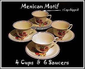 Mexican Motif Montclaire Cups and Saucers