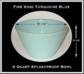 Fire King Turquoise Blue 3 Quart Splashproof Bowl