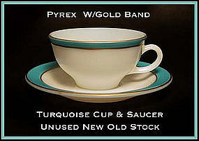 Pyrex Gold Trim W/Turq Color Band Cup and Saucer Unused