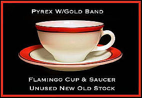 Pyrex Gold Trim Flamingo Color Band Cup/Saucer Unused