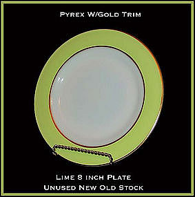 Pyrex Gold Trim W/Lime Color Band 8 inch Plate Unused