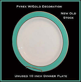 """Pyrex Corning Gold Dec Turquoise Band 10"""" Dinner Plate"""