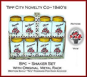 Tipp City 8pc Range Shaker Spice Set W/Org Rack