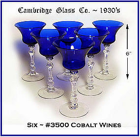 Cambridge ~ 6 ~ #3500 Cobalt Tall Wine Goblets