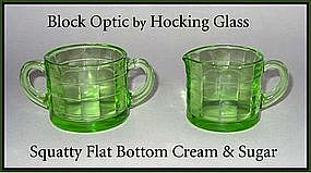 Unusual Hocking Block Optic Flat Cream & Sugar Set