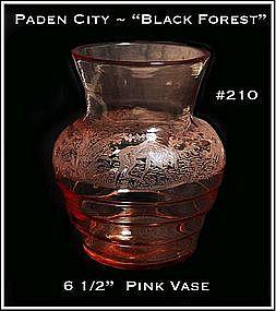 """Paden City ~ Line #210 ~ """"Black Forest"""" ~ Pink Vase"""