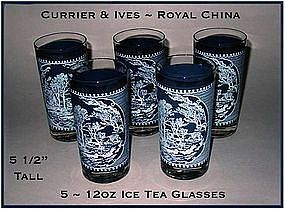 Currier & Ives Royal China 13 oz Ice Tea Glasses