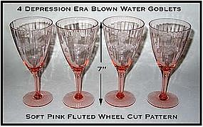 4 Depression Era Pink Etched Water Goblets