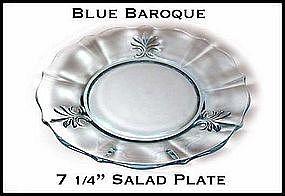 "Fostoria Blue Baroque 7 1/4"" Salad Plate~Excellent!"