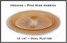 Miss America Pink 12 Inch Oval Platter