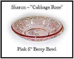 """Federal Glass Pink Sharon ~ Six - 5"""" Berry Bowl-All"""