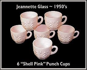 Jeannette Glass ~ Shell Pink ~ 6 Punch Cups