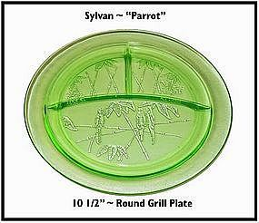 """Federal Glass ~ Green Parrot 10 1/2"""" Round Grill Plate"""