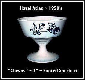 """Hazel Atlas Childs Blue~""""Clowns""""~Footed Sherbert"""