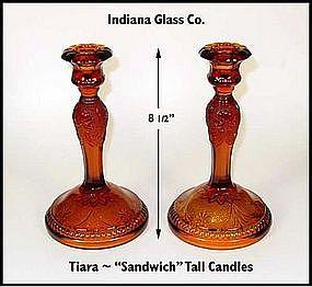 Indiana Glass~Tiara Sandwich~2 Tall Amber Candles