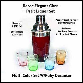 Cambridge Elegant Petit Deco ~ 5 pc Ruby Liquor Set
