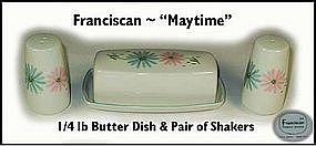 """Franciscan """"Maytime"""" Butter Dish + Salt & Pepper Set"""