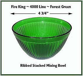 """Fire King~Forest Green~Rare Ribbed 4 3/4"""" Stacking Bowl"""