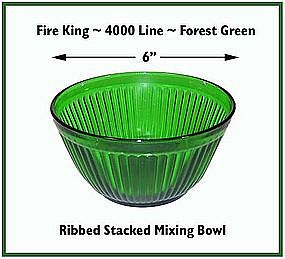 """Fire King~Forest Green~Rare Ribbed 6"""" Stacking Bowl"""
