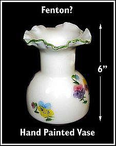 "Fenton ~ Hand Painted ~ 6"" Vase ~ Nice!"