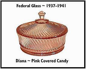 Federal Glass~Diana~Pink Covered Candy Jar