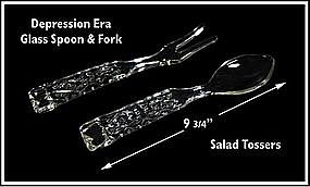 Waffle ~ Crystal Glass Spoon and Fork Salad Toss Set