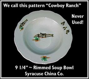 """Cowboy Ranch"" Rimmed Flat Soup Sterling China RW"