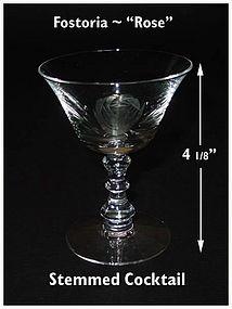 "Fostoria ""Rose"" Cutting No 827-3 1/2 oz Cocktail"