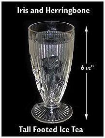 Iris & Herringbone Footed Embossed Ice Tea Tumbler