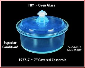 """Fry Oven Glass 1922-7""""  Round Covered Baker/Casserole"""