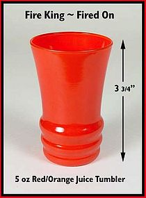 Fire King Rainbow Fired On Red Juice Tumbler 1940