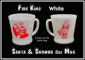 1950s Fire King SANTA CLAUS White RW 8oz Coffee Mug